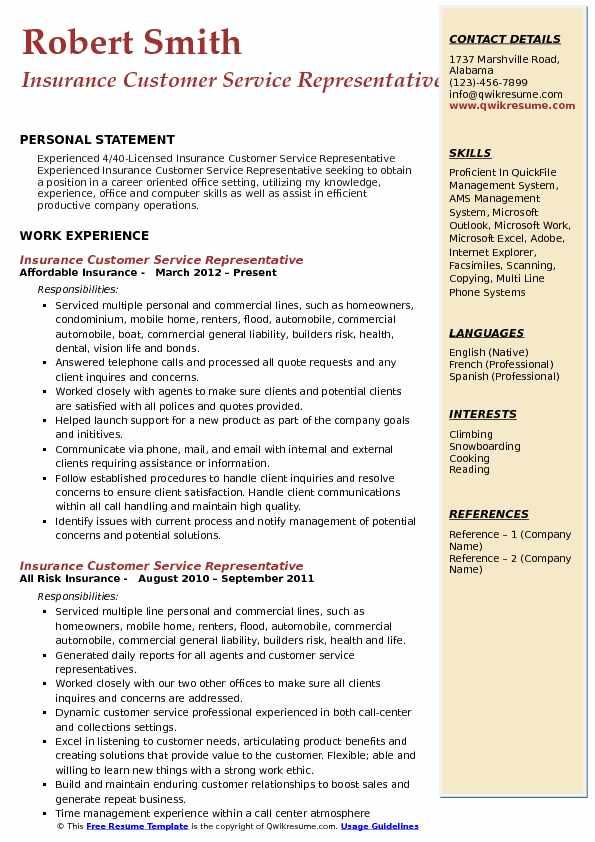 Insurance Rep Resume Sample