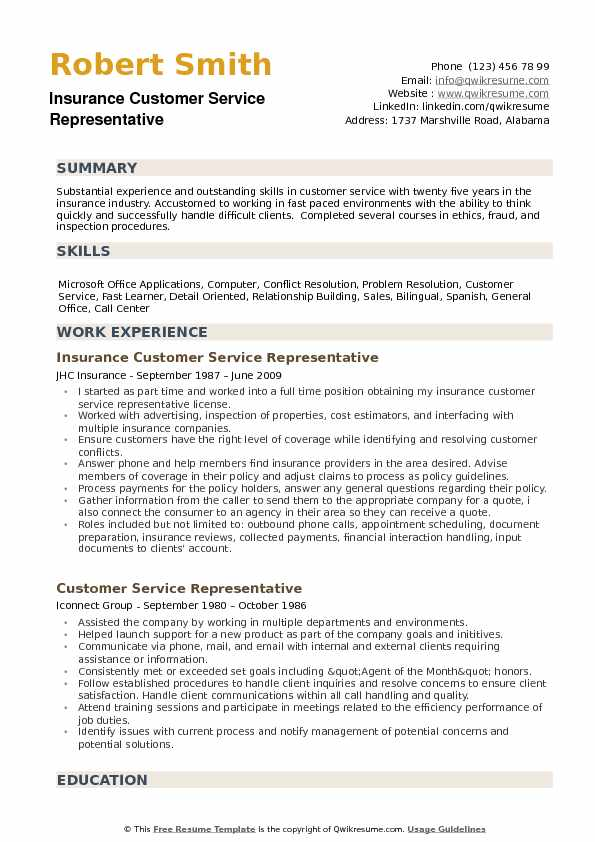 Insurance Customer Service Representative Resume example