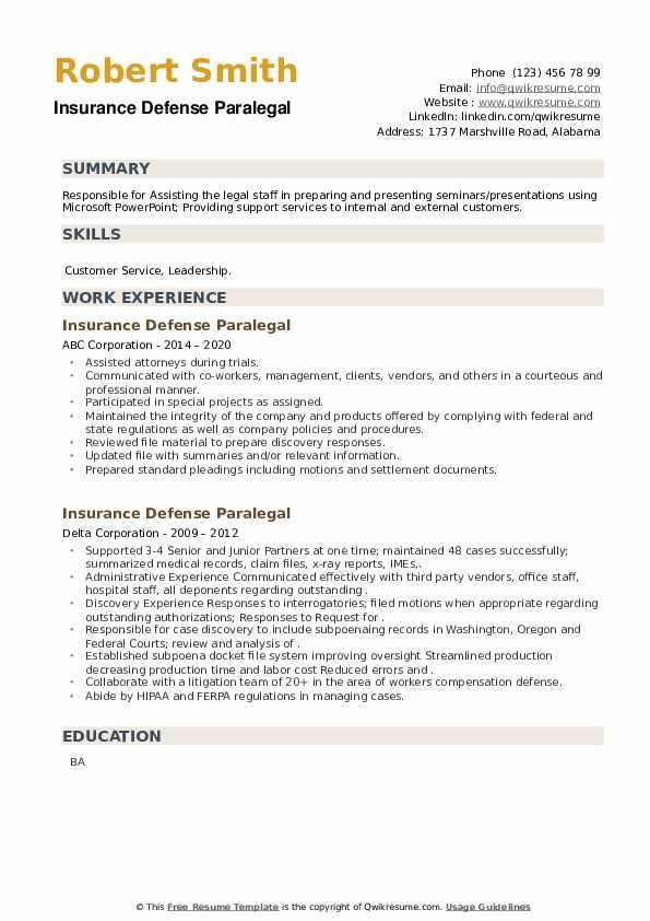 Insurance Defense Paralegal Resume example