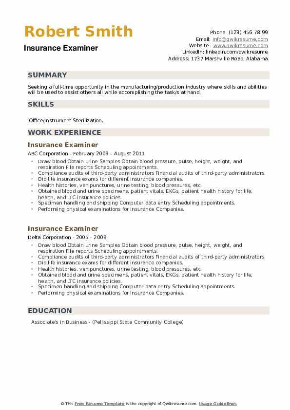 Insurance Examiner Resume example