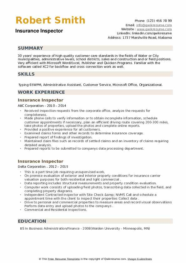 Insurance Inspector Resume example