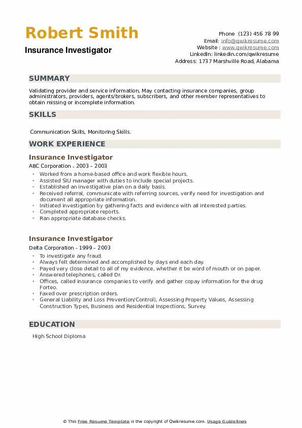Insurance Investigator Resume example