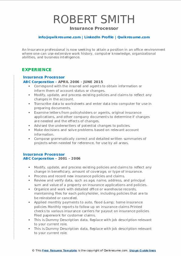 Insurance Processor Resume example