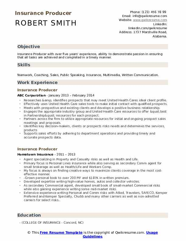 Insurance Producer Resume Sample
