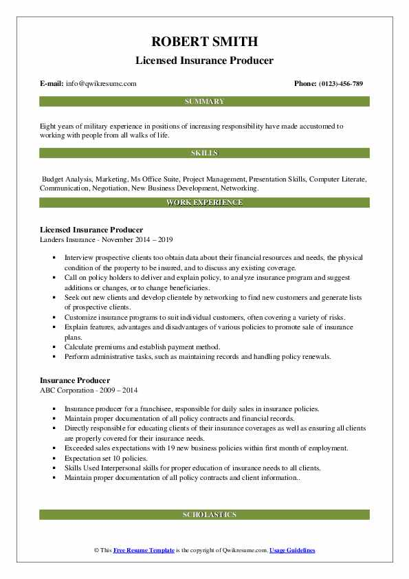 Licensed Insurance Producer Resume Template