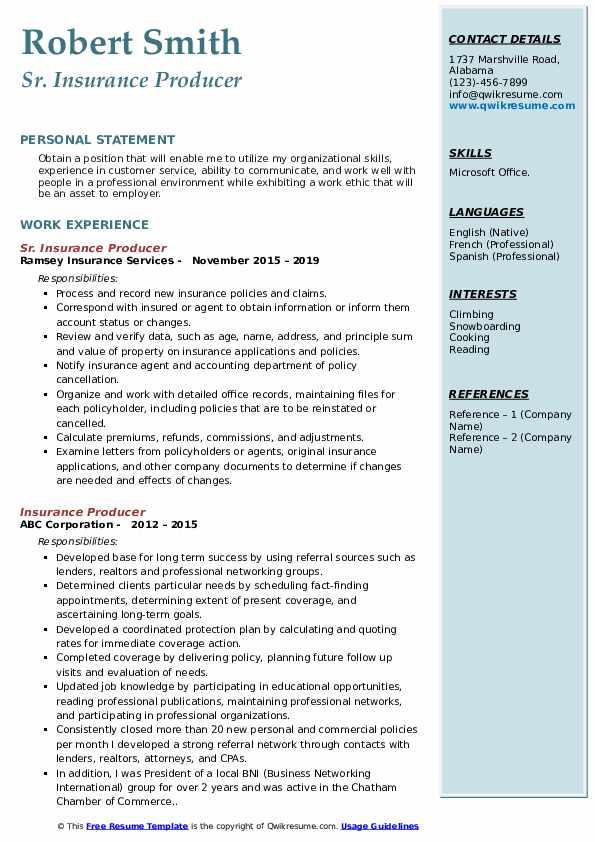 Sr. Insurance Producer Resume Model