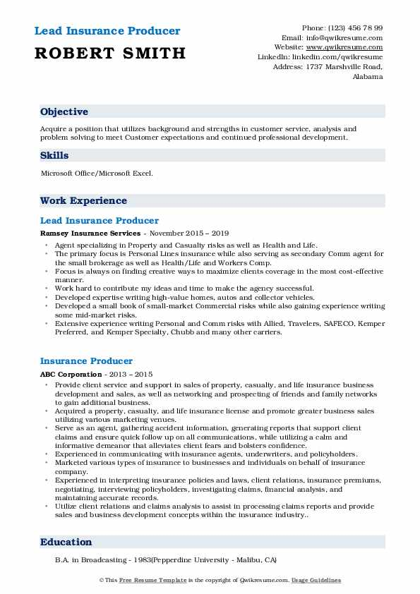 Lead Insurance Producer Resume Template