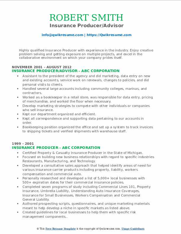 Insurance Producer/Advisor Resume Format