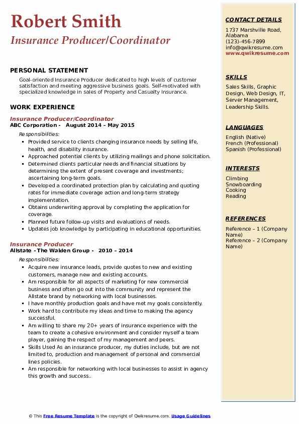 Insurance Producer/Coordinator Resume Model