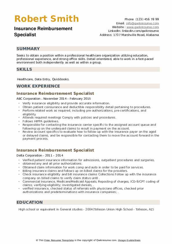 Insurance Reimbursement Specialist Resume example