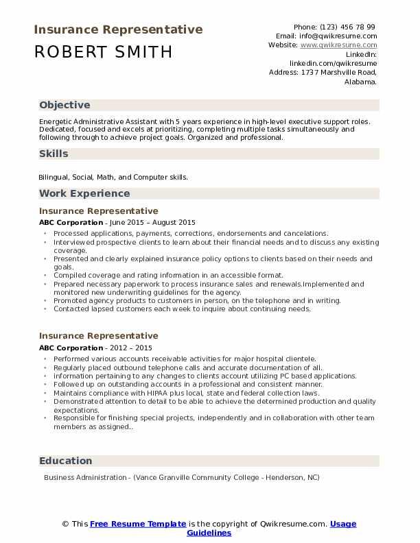 Insurance Representative Resume Format