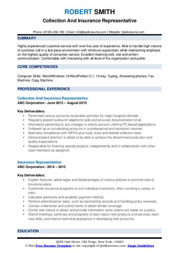 Collection And Insurance Representative Resume Template