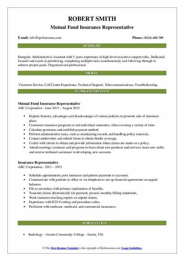 Mutual Fund Insurance Representative Resume Format