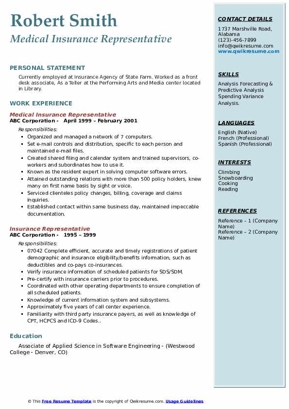 Medical Insurance Representative Resume Sample