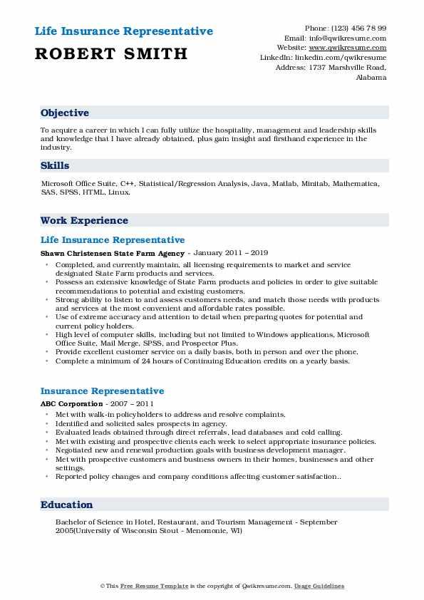 Life Insurance Representative Resume Sample