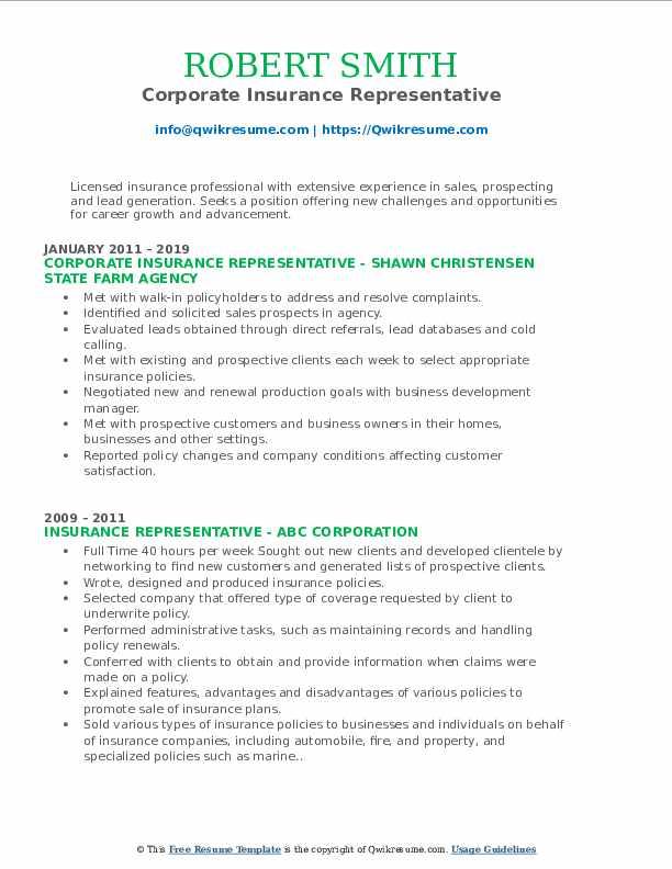 Corporate Insurance Representative Resume Model