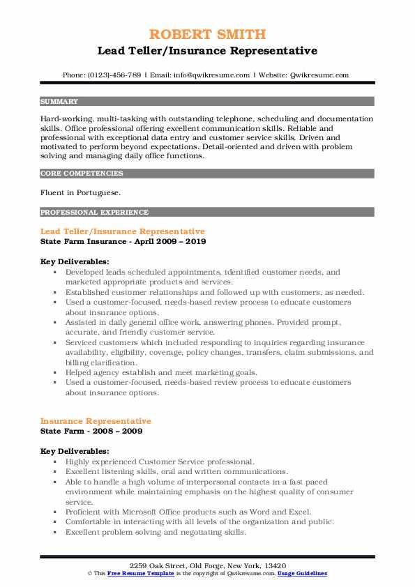 Lead Teller/Insurance Representative Resume Example