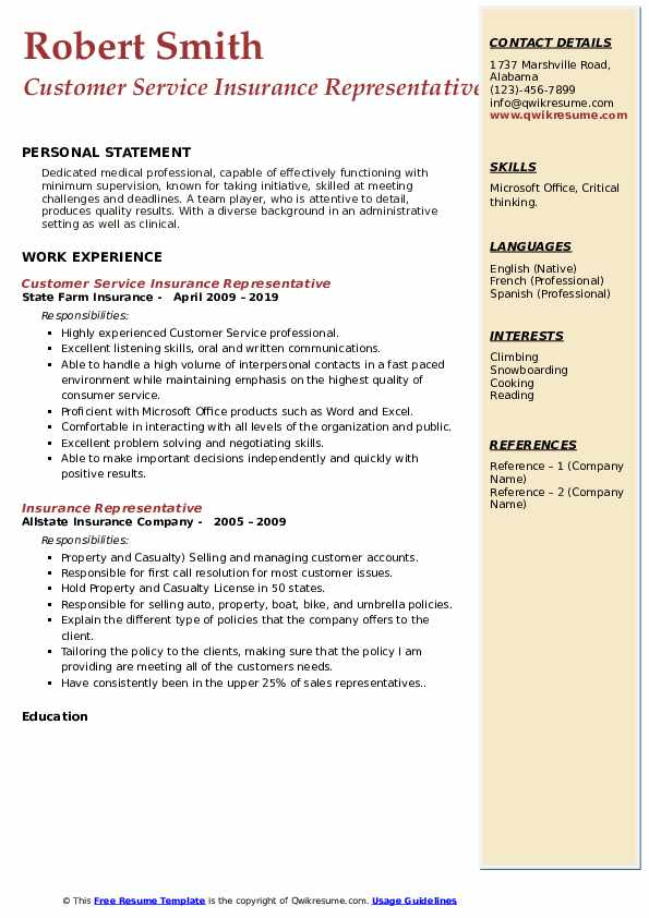 Customer Service Insurance Representative Resume Template