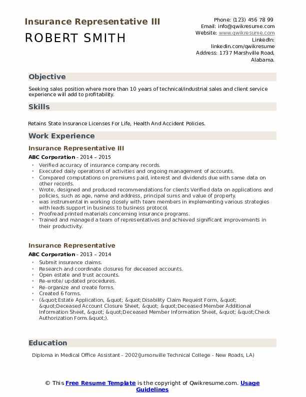 Insurance Representative III Resume Format