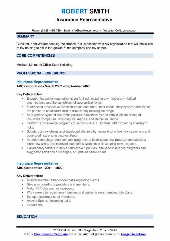 Insurance Representative Resume example