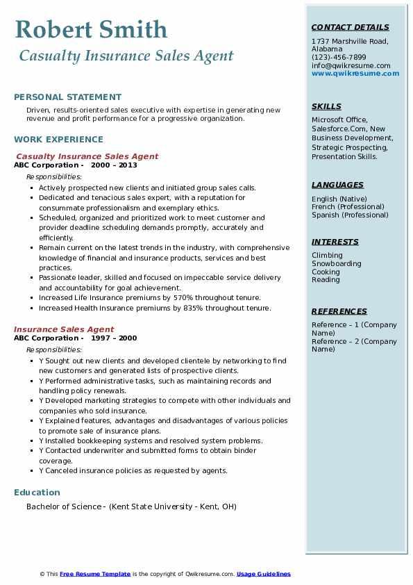 Insurance Sales Agent Resume Samples | QwikResume