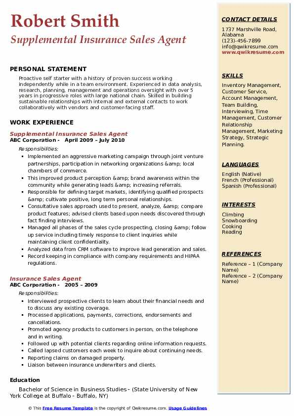 Insurance Sales Agent Resume Samples | QwikResume