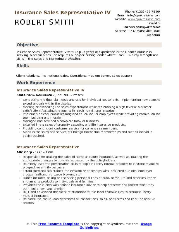 Insurance Sales Representative IV Resume Template