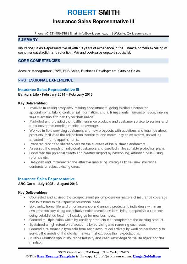 Insurance Sales Representative III Resume Format