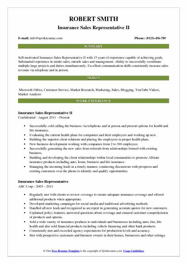 Insurance Sales Representative II Resume Sample