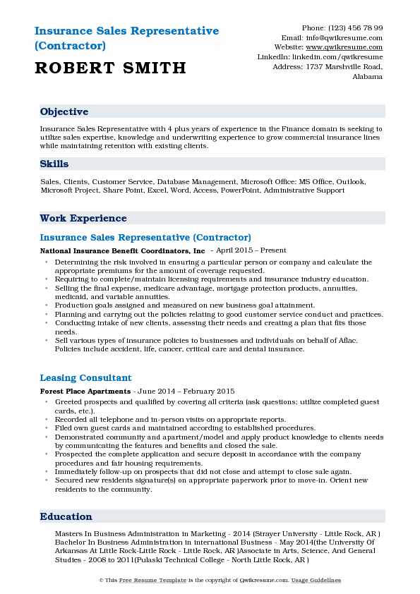 Insurance Sales Representative (Contractor) Resume Example