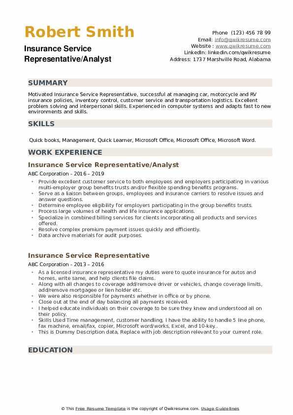 Insurance Service Representative Resume example