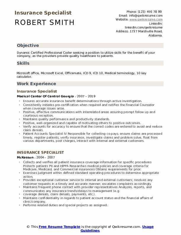 Insurance Specialist Resume Model