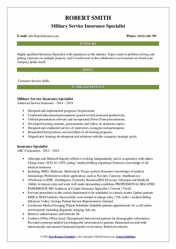 Military Service Insurance Specialist Resume Sample