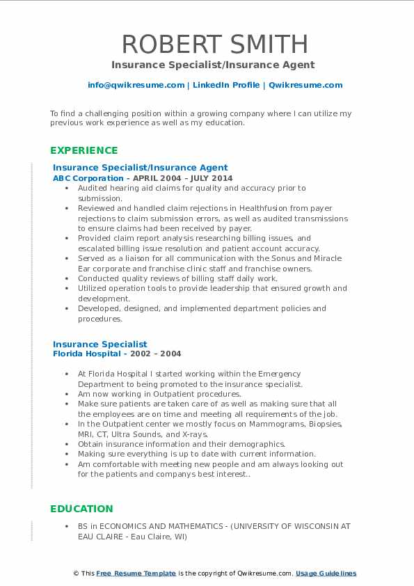 Insurance Specialist/Insurance Agent  Resume Template
