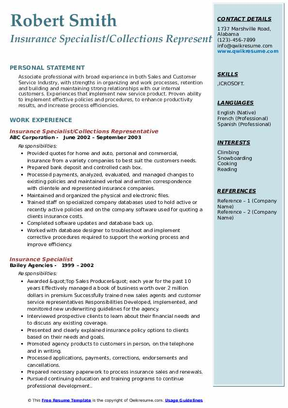 Insurance Specialist/Collections Representative Resume Model