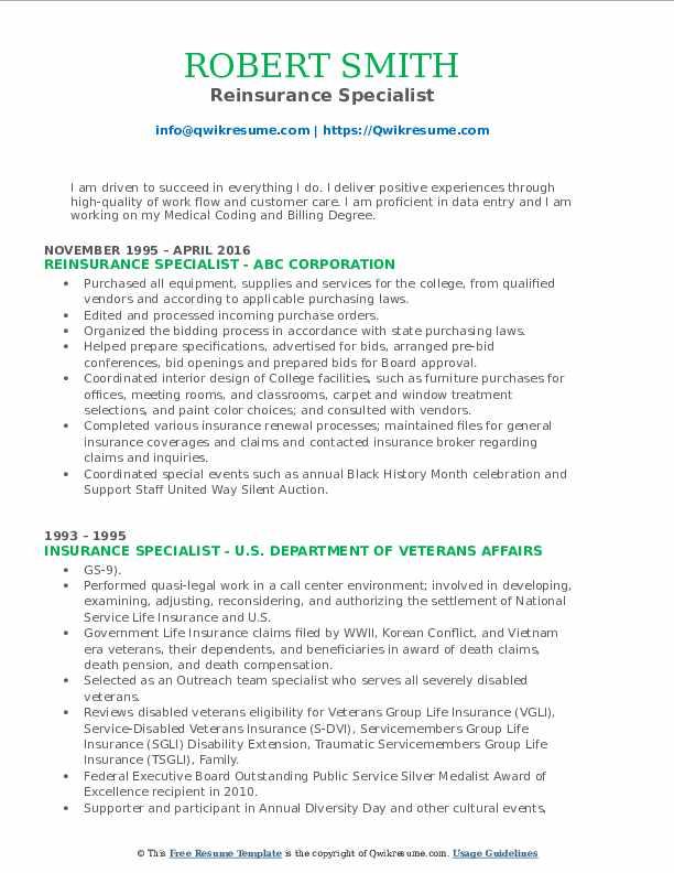 Reinsurance Specialist Resume Sample