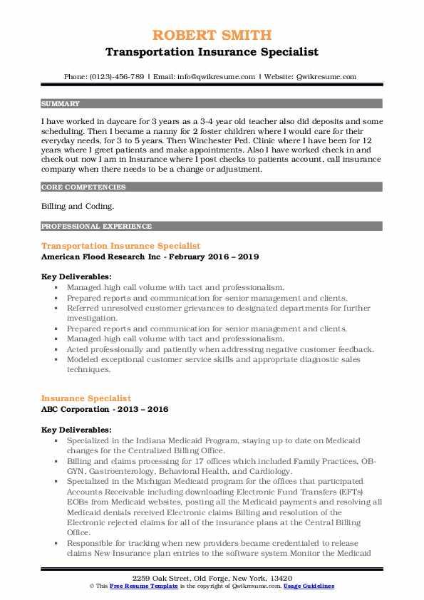 Transportation Insurance Specialist Resume Sample
