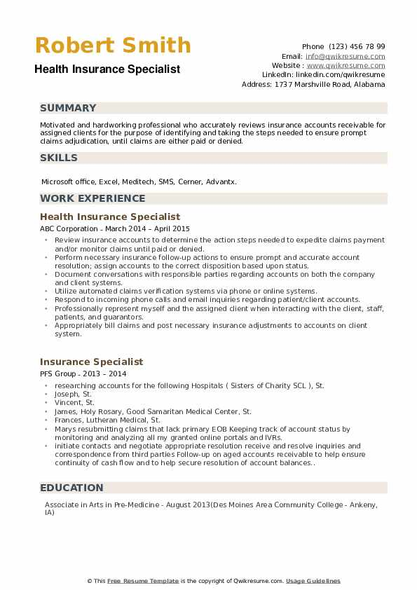 Insurance Specialist Resume Samples Qwikresume