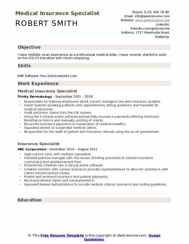 Medical Insurance Specialist Resume Sample