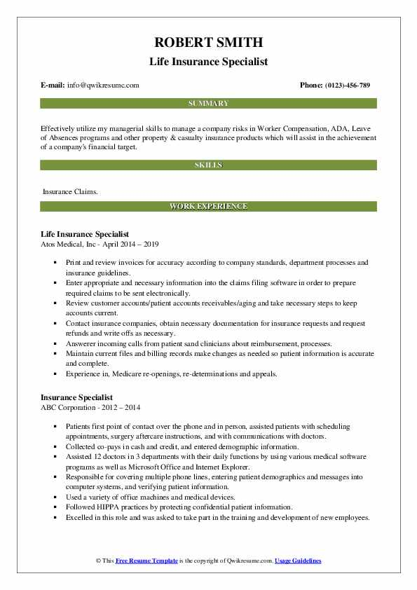 Life Insurance Specialist Resume Template