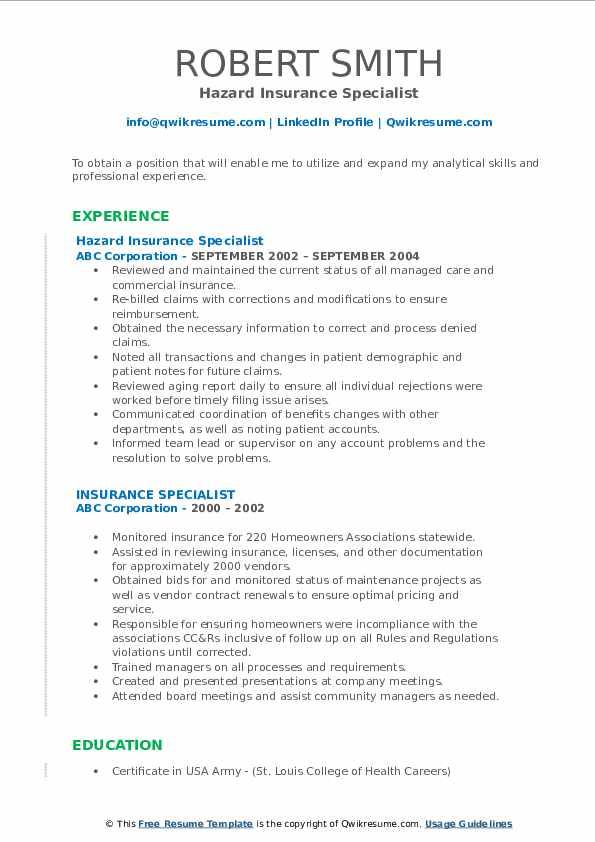 Hazard Insurance Specialist Resume Example