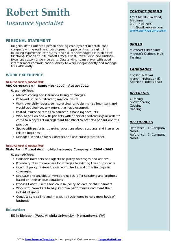 Insurance Specialist Resume Samples Qwikresume