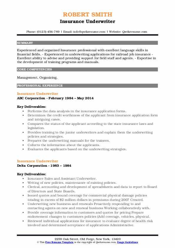 Insurance Underwriter Resume Samples Qwikresume