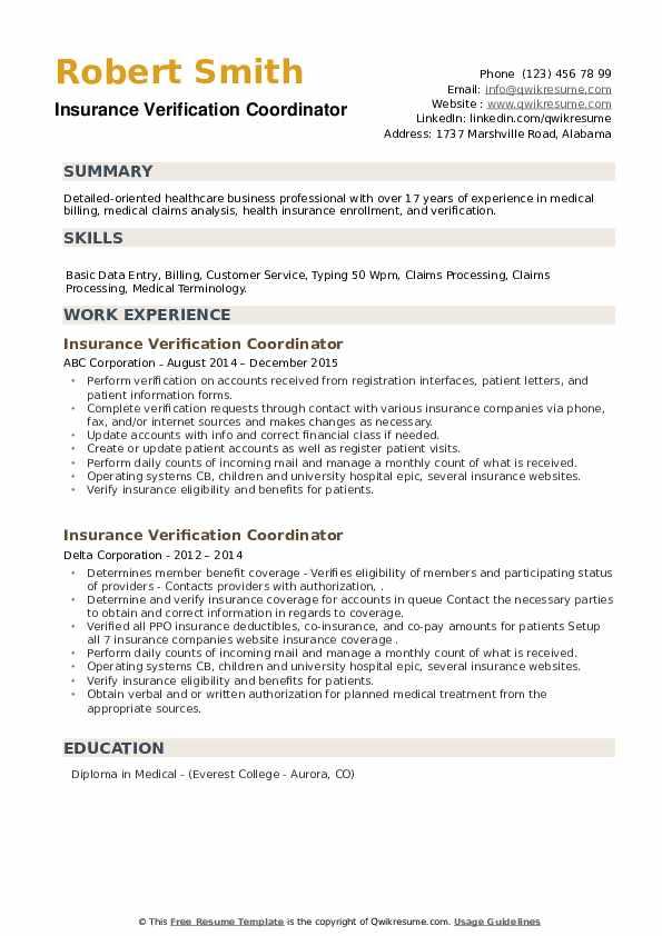 Insurance Verification Coordinator Resume example