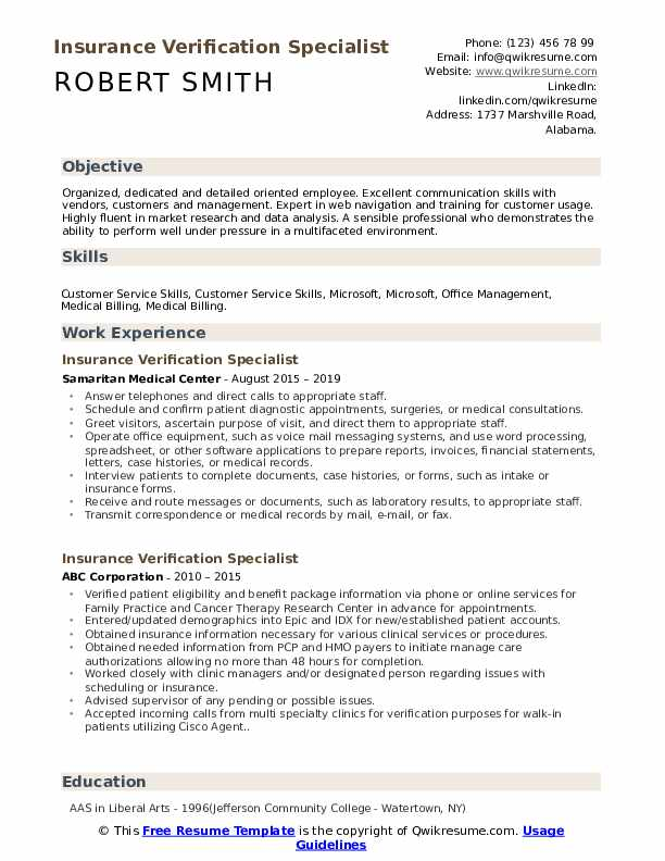 Insurance Verification Specialist Resume Template