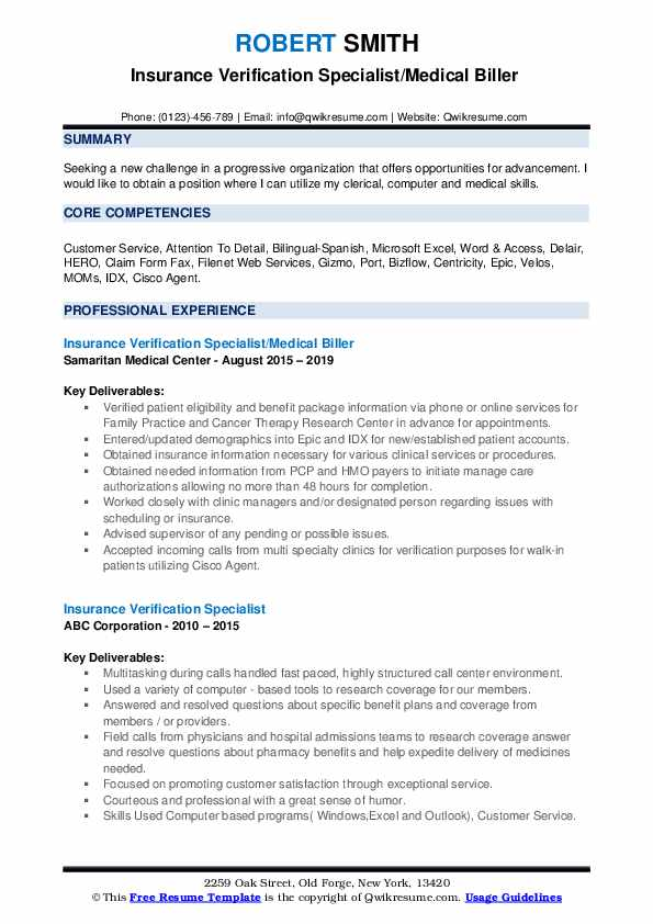Insurance Verification Specialist/Medical Biller  Resume Model