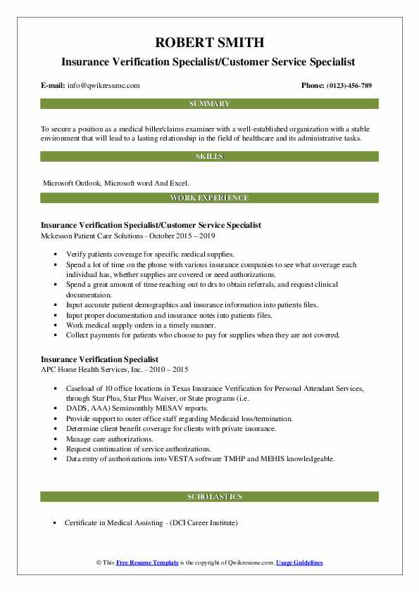 Insurance Verification Specialist/Customer Service Specialist  Resume Sample