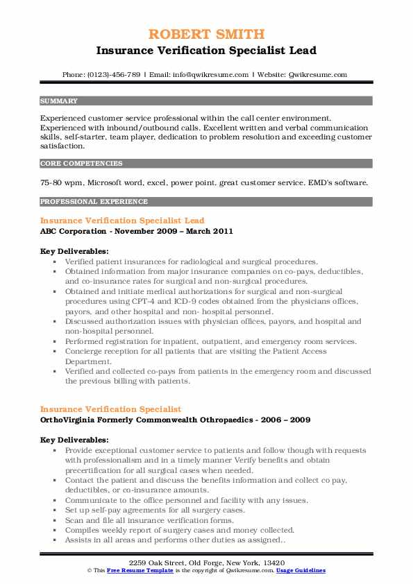 Insurance Verification Specialist Lead Resume Template