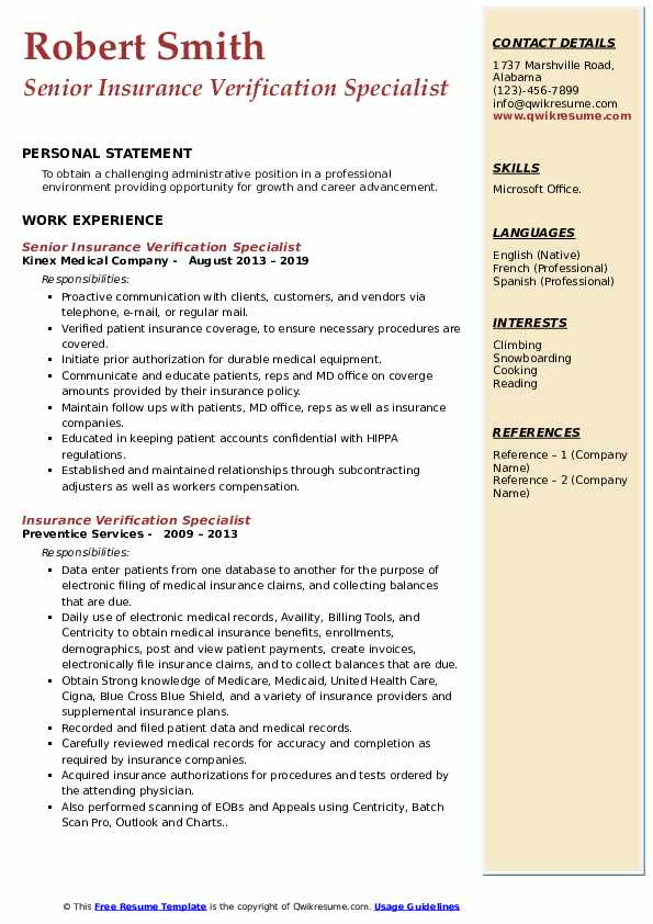 Senior Insurance Verification Specialist Resume Sample