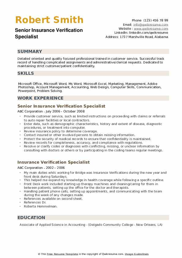 Senior Insurance Verification Specialist Resume Format